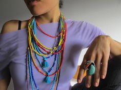Prism Rainbow Beaded Necklace Wrap Bracelet, Long Ethnic Tribal Beadwork Jewelry, Beads Orange Red Turquoise Blue Green, on Etsy, $42.00