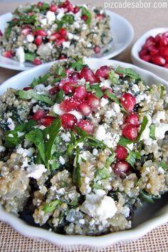 Deliciosa receta de quinoa, espinaca y feta con descripciones paso a paso e imágenes para preparar este hermoso platillo.