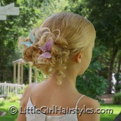 Girls Butterfly Hairstyle - Easy Hairstyle for Girls Butterfly Hairstyle, Flower Girl Hairstyles, Little Girl Hairstyles, Easy Hairstyles, Wedding Hairstyles, Girls Updo, Girls Hairdos, Hair Photo, Wedding Updo