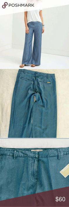 "Michael Kors Chambray Wide-Leg Pants Michael Kors Chambray Wide-leg Trousers. Silhouette is rendered in denim ( indigo) for modern take on classic. Inseam 34"" Michael Kors Pants Wide Leg"