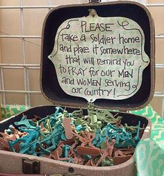 Toy Soldier Reminder for Veteran's Day, Memorial Day, etc. Military Party, Army Party, Military Life, Army Life, Military Crafts, Military Homecoming, Military Send Off Party Ideas, Military Letters, Army Crafts