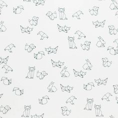 Black and white Jersey by CaboodleTextiles Animals Black And White, Origami Animals, White Jersey, Templates, Geo, Fabrics, Cotton, Black Pattern, Animals
