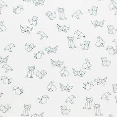 Kinderstoffen Jersey Katoen : Kinderstoffen Jersey - Wit Zwart Patroon Origami…
