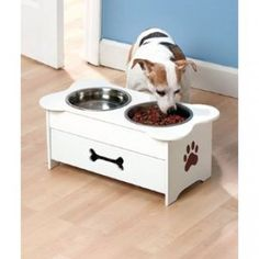 Not only can you feed Fido, but you can also store his toys, treats and leashes in a Wooden Pet Feeder with Drawer. This x x feeder has 2 re Dog Bowl Stand, Dog Feeder, Puppy Food, Cat Accessories, Animal Projects, Cat Supplies, Dog Friends, Dog Bowls, Your Pet