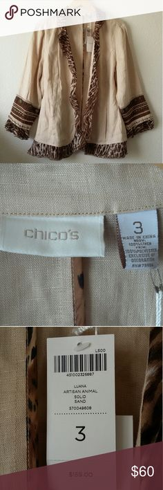 CHICO's Luana Artisan Animal Solid Sand jacket NWT Chico's linen jacket with an animal print trim and beading on the sleeves. New with tags still attached. Chico's size 3 = XL = regular size 16. Body: 100% linen. Trim: 100% polyester. PLEASE NOTE: Some of the stitching in the left pocket has come loose (refer to images). It can easily be fixed if you have a sewing machine or a steady hand. Chico's Jackets & Coats