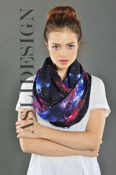 Nebula Space Galaxy Infinity Scarf Loop Scarf Circle Scarf by Aslidesign Gift idea For Her Fall Fashion Christmas, 18.90 usd Coupon Code : PIN10 for %10 discount