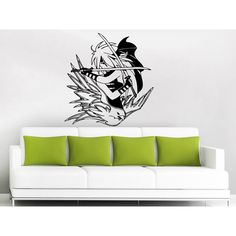 Swords Fight Dove Anime Vinyl Sticker Wall Art (22 inches x 26 inches)
