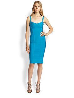 I love the color of this bandage dress Brand/Designer: Herve Leger Material: Nylon /Rayon /Spandex Dress Length: Cocktail Dress Silhouette: Bandage Shoulder: Tank Waistline: Natural Waistline Closure/Back: Back-Zipper
