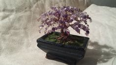 Amethyst and Copper wire Bonsai tree. Wire Jewelry, Jewellery, Copper Wire, Bonsai, Terrarium, Amethyst, My Etsy Shop, Home Decor, Terrariums