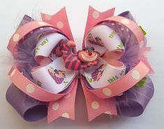 Cheshire Cat Girls Boutique Hair Bow  by JustinesBoutiqueBows, $8.50