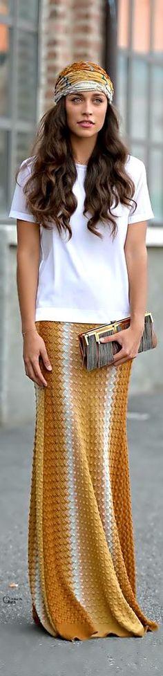 Falda larga color mo