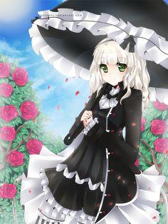 Rose Garden by Chiiteru anime girl Manga Art, Manga Anime, Anime Art, Zelda Twilight Princess, Belated Birthday, Vocaloid, Neko, Cute Pictures, Design Art