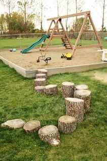 Hilary's Home Daycare backyard – natural playground ideas Daycare Spaces, Home Daycare, Daycare Ideas, Outdoor Fun For Kids, Backyard For Kids, Outdoor Play, Playground Photography, Childcare Activities, Kindergarten