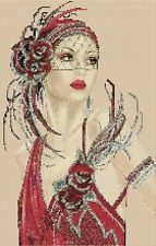 Amazing image is the creation of Flower Power37-UK......Cross stitch chart  Art Deco Lady 8