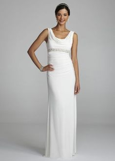 Effortlessly elegant and stunning! You will the picture of classic sophistication in this gorgeous cowl neck beaded gown!  Tank bodice features softly draped cowl neckline and eye-catching scoop back.  Pearls and crystals adorn the empire waist creating a slimming silhouette.  Long draped soft skirt creates movement and is comfortable to wear all night long.  Fully lined. Side zip. Imported polyester. Professional spot clean only, no direct heat or steam on beads.