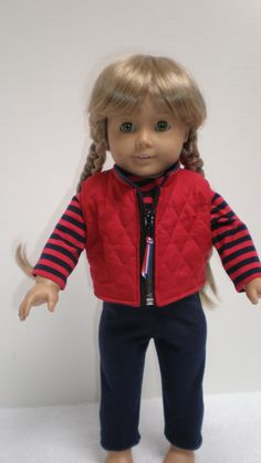 American Girl Red Quilted Vest  18 inch doll by dollupmydoll, $15.00