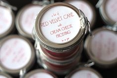Red velvet cupcakes, in a jar. perfect for a bake sale