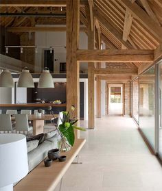 Large Living Room of Barn House Design