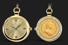 U příležitosti 275. výročí korunovace Marie Terezie Vám představujeme unikátní hodinky s mincí Marie Terezie.  Průměr dámských hodinek činí 30 mm, jejich hloubka dosahuje 8,5-9,5 mm a je do nich vsazená originální mince Marie Terezie s průměrem 25 mm. Vsazená mince je celá pozlacená 24karátovým zlatem. Pro impozantní dojem je obvod hodinek vykládán 45 zirkony.