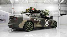 PRINT: Tesla celebrates Veterans Day with army camo wrapped Model Ss Tesla Motors, 2014 Tesla Model S, Tesla For Sale, Color Verde Militar, Camo Truck, Nissan Trucks, Bug Out Vehicle, Army Camo, Car Wrap