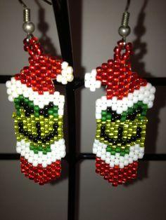Grinch beaded earrings by jolly26 on Etsy, $11.00