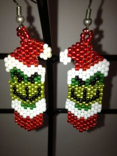 Grinch beaded earrings by jolly26 on Etsy, $11.00