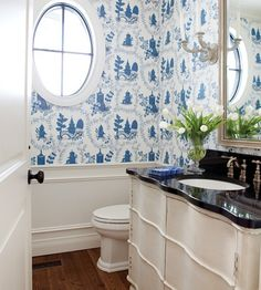 Home Design and Decor , Country French Style Interior Powder Room : Country French Style Interior Powder Room With Round Window And Wallpaper And Black Countertop 2 Country Style Homes, French Country Style, French Country Decorating, Modern Country, Blue White Bathrooms, White Rooms, Country Bathrooms, Modern Bathroom Design, Beautiful Bathrooms