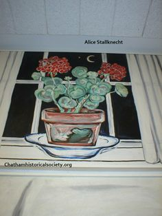 """From Alice Stallknecht's mural """"The Circle Supper."""" Color photo of a painting of a clay pot of geraniums resting on plate, on windowsill. Straight curtains at window on either side; dark outside with sliver of moon and l star. Alice, Window Sill, Clay Pots, Historical Society, Local Artists, Geraniums, Murals, Barn, Museum"""