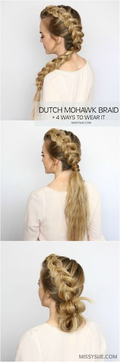 Dutch Mohawk Braid Hairstyles, Frisuren, Who's ready for some easy, heatless hairstyles? Summer is officially here and it's hot out there! Put down those hot tools and give your hair a . Heatless Hairstyles, Braided Hairstyles Tutorials, Pretty Hairstyles, Easy Hairstyles, Braid Hair Tutorials, Summer Hair Tutorials, Wedding Hairstyles, Homecoming Hairstyles, Wedding Updo