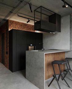 Black interior design ▪️ 📐GP 45 Apartment designed by Ira Kulyk located in Kyiv, Ukraine ▪️ Join us to community. Interior Design Examples, Loft Interior Design, Best Interior, Interior Design Inspiration, Interior Decorating, Design Ideas, Exterior Design, Decorating Ideas, Minimalistic Lifestyle