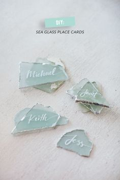 DIY sea glass place cards: http://www.stylemepretty.com/vault/search/images/silver: