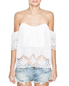 89ed15f5d7efd Lucy Paris Off-the-Shoulder Lace Sweetheart Top - 100% Exclusive Women -  Bloomingdale s