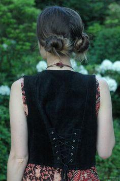 Orchid Grey // Double bun, velvet vest and dress. Me.