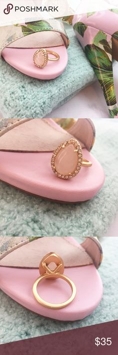 Rose Quartz Ring Details: • Size 7.5 • Gold plated • Teardrop rose quartz stone • Brand new in velvet jewelry pouch  07231501 Jewelry Rings