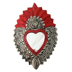 Authentic mexican tin folk art colourful flaming heart ' flower' mirror - small
