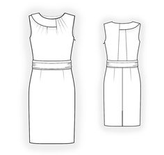 Dress With Pleats Into Neckline  - Sewing Pattern #4317 Made-to-measure sewing pattern from Lekala with free online download. Belt, Round neck, No sleeves, Knee length, Straight skirt, No pockets