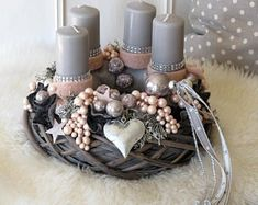 Your place to buy and sell all things handmade Christmas Advent Wreath, Christmas Crafts, Outdoor Christmas Decorations, Table Decorations, Holiday Decor, Couronne Diy, Grey Candles, Centre Pieces, Yule