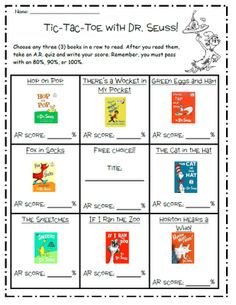 Tic-Tac-Toe with Dr. Seuss AR Tests, love this for our Dr. Seuss Author Study coming up.
