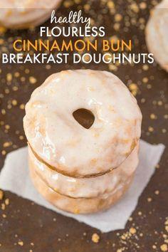 Healthy Flourless Cinnamon Bun Breakfast Doughnuts #Vegan #Paleo #GlutenFree | Thebigmansworld.com