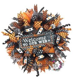 Welcome to Our Web Deco Mesh Halloween Wreath in Orange and Black, Halloween Door, Holiday Wreaths, Halloween Decor by SouthernCharmWreaths (145.00 USD) http://ift.tt/1haSM9v