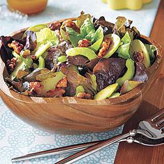 Green Salad with Spiced Walnuts Recipe ..... replace celery with water chesnuts ... only 2 servings | MyRecipes.com