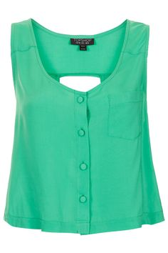 Topshop  SLEEVELESS CUT-OUT BACK SUNTOP  Price: $48.00 Color: JADE Item code: 13J08DJDE Sleeveless vest with front pocket and button detail with back cut-out feature. 100% Cotton. Machine washable. http://us.topshop.com/webapp/wcs/stores/servlet/ProductDisplay?beginIndex=201==33060=13052=9660736=-1_field=Relevance=208637_categoryId=208580=200