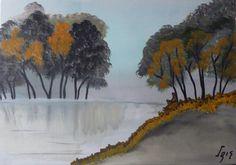 ©Crystal lake, painted by Iris Sun, oil on canvas  www.irisunart.com