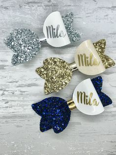 Large Personalised Bow set glitter hair bow set personalised