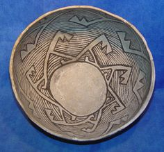PREHISTORIC POTTERY - North America - 'Anasazi prehistoric Black on white pottery bowl, (Mostly original with some plaster fill in the areas where a couple pieces were missing -- easily viewable from back side--see photos). Chaco Canyon Anasazi style.' - Len Wood's Indian Territory