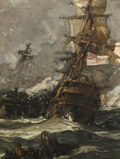"""shear-in-spuh-rey-shuhn: """" FRANK BRANGWYN The Brunswick Caught Anchors With Her Enemy Oil on Canvas x """" As seas boil and cannons light th' air ye know ye' ave picked th' right life! Wind Pictures, Sea Pictures, Bateau Pirate, Old Sailing Ships, Sailing Boat, Ship Paintings, Pirate Life, Pirate Art, Ship Art"""