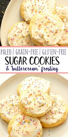 These chewy and soft Paleo sugar cookies are gluten free dairy free and so chewy and delicious! With these clean better-for-you ingredients you won't even know they're grain free. They're perfect for your next party cookie swap or just a healthier tr Paleo Dessert, Paleo Sweets, Gluten Free Desserts, Dairy Free Recipes, Real Food Recipes, Dessert Recipes, Paleo Recipes, Gluten Free Party Food, Diet Desserts
