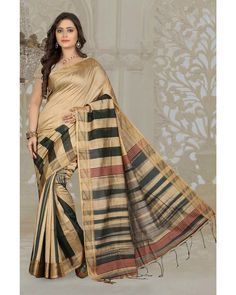 Beige Silk Cotton Saree With Blouse 66540