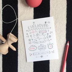 Geburtstagseinladung+ZUR+WILDEN+PARTY+von+finelittlepaper+auf+DaWanda.com