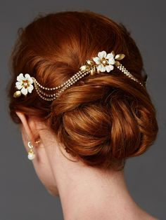 Elegant Couture Gold Hand Enameled Floral Triple Bridal Comb with Crystal Swags - Affordable Elegance Bridal -